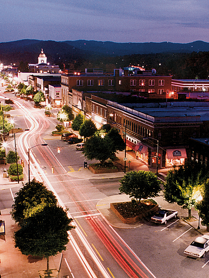 Downtown Hendersonville at Night